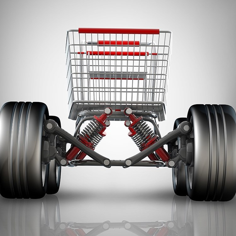 shopping cart on wheels